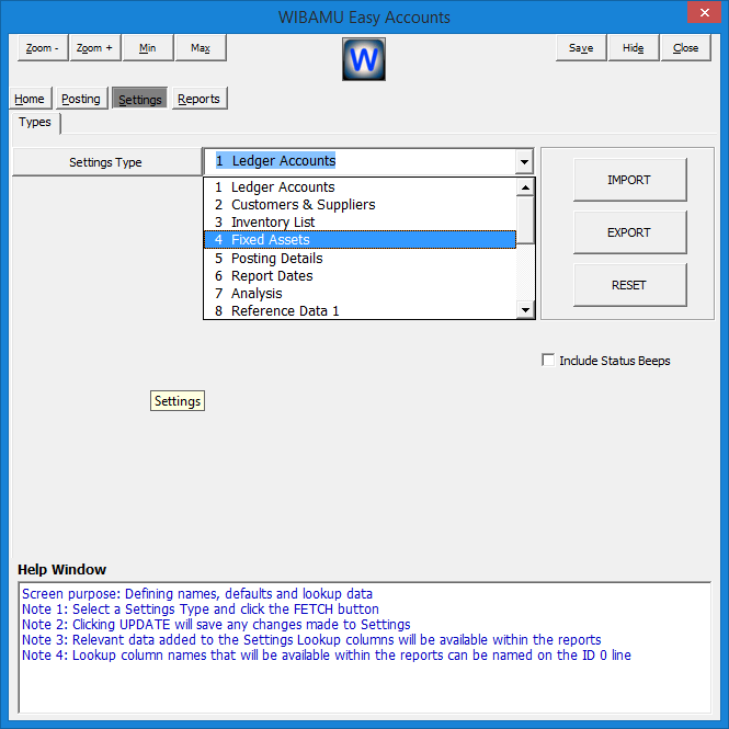 21. WIBAMU - Settings Section, Selecting Settings Type