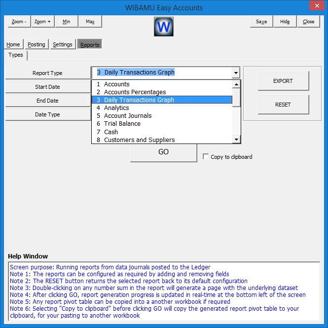 24. WIBAMU - Reports Section, Selecting Report Type